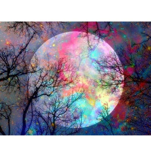 5D DIY Diamond Painting Kits Dream Night Sky Colorful Moon - 3