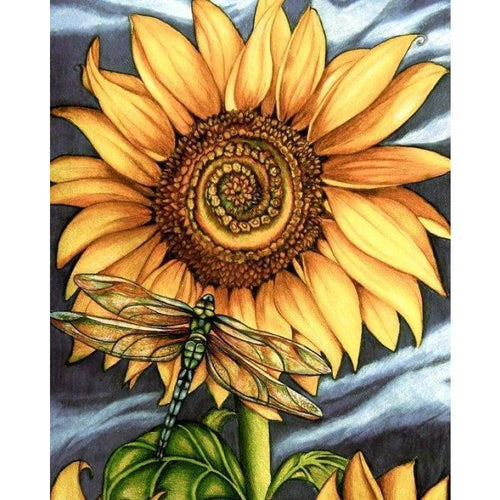 5D DIY Diamond Painting Kits Beautiful Yellow Plant Sunflower Dragonfly - 3