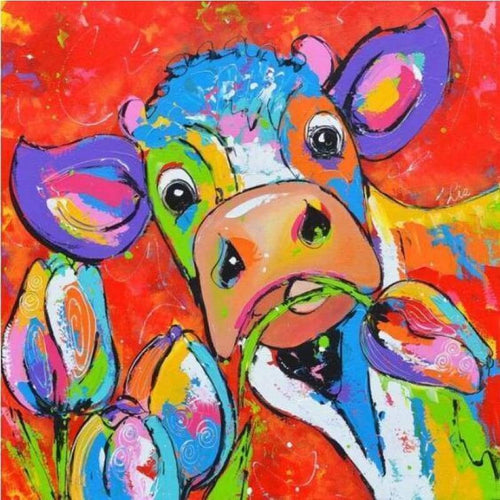 5D DIY Diamond Painting Kits Colores Stupid Cow