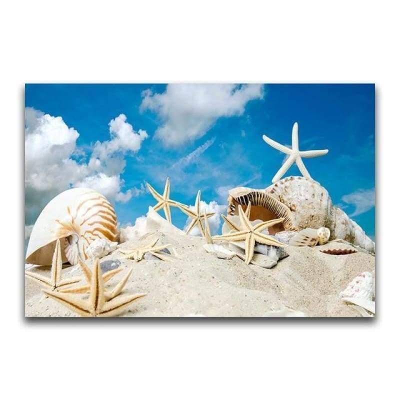Full Drill - 5D DIY Diamond Painting Kits Shell Starfish on the Beach - NEEDLEWORK KITS