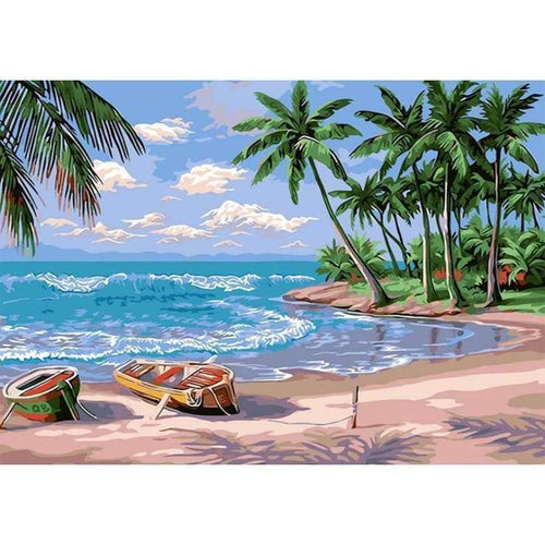 Full Drill - 5D DIY Diamond Painting Kits Summer Boats By the Sea and Trees - NEEDLEWORK KITS
