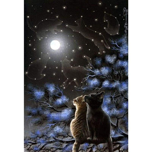 Full Drill - 5D DIY Diamond Painting Kits Dream Moon Starry Night Cats om the Branches - NEEDLEWORK KITS