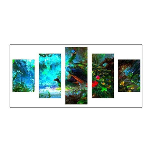 Full Drill - 5D DIY Diamond Painting Kits Multi Panel Dream Peacock - NEEDLEWORK KITS