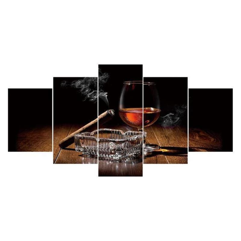 5D DIY Diamond Painting Kits Multi Panel Wine Glasses And Cigars - 55
