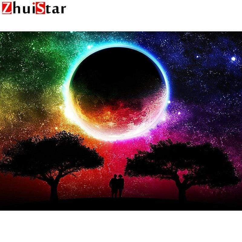5D DIY Diamond Painting Kits Natural Scenery Moon - c