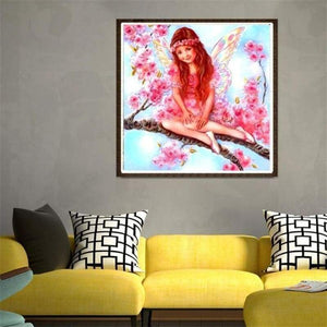 5D DIY Diamond Painting Kits Cartoon Pink Angel on the Branches