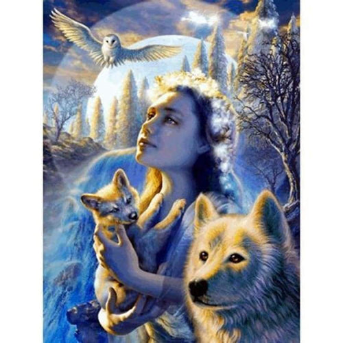 5D DIY Diamond Painting Kits Winter Animal Wolf and Beauty Eagle - 3