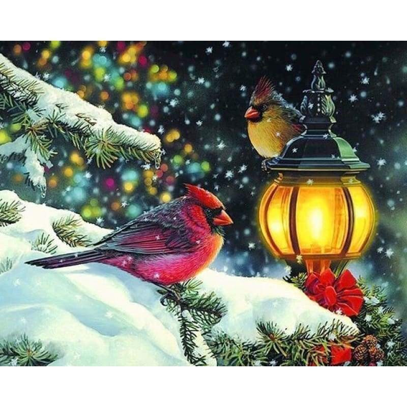 Full Drill - 5D DIY Diamond Painting Kits Winter Bird Red - NEEDLEWORK KITS