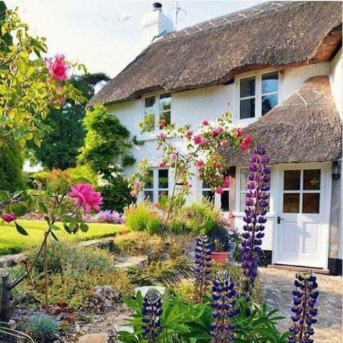 Full Drill - 5D Diamond Painting Kits Cottage Garden Picture - NEEDLEWORK KITS