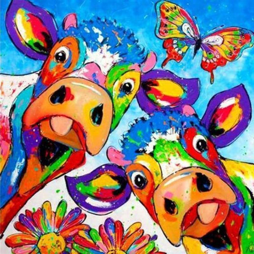 5D Diamond Painting Kits Colred Drawing Cows Butterfly