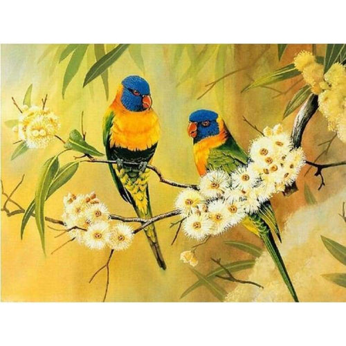 5D Diamond Painting Kits Cute Birds on the Flower Blanches - 4