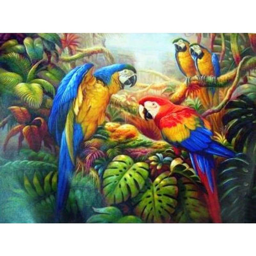 Full Drill - 5D Diamond Painting Kits Cute Bird Parrot on the Branches - NEEDLEWORK KITS