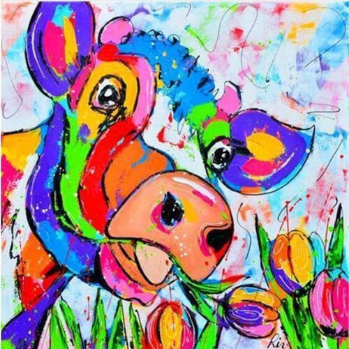 5D Diamond Painting Kits Colorful Cow Flowers