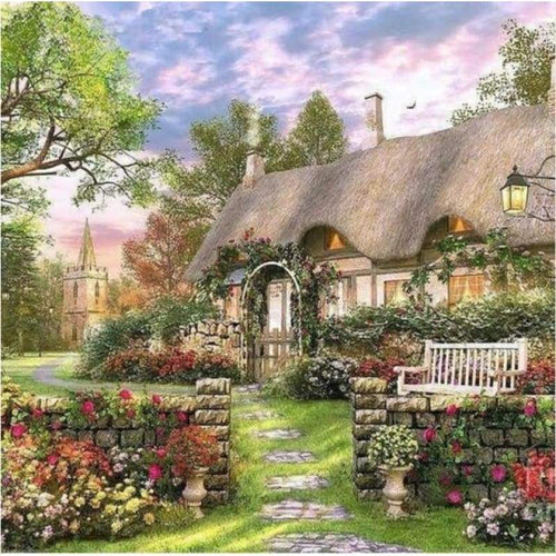 Full Drill - 5D DIY Diamond Painting Kits Spring Dream Landscape Cottage Picture - NEEDLEWORK KITS