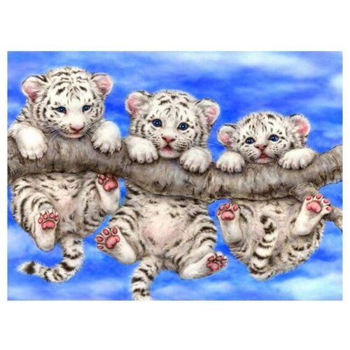 5D DIY Diamond Painting Kits Cute Tigers on the Branch - 4