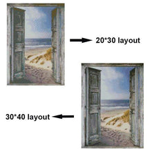 Load image into Gallery viewer, Full Drill - 5D DIY Diamond Painting Kits Scene out of Vintage Door To The Beach - NEEDLEWORK KITS