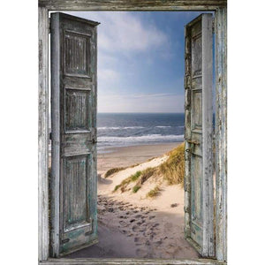 Full Drill - 5D DIY Diamond Painting Kits Scene out of Vintage Door To The Beach - NEEDLEWORK KITS
