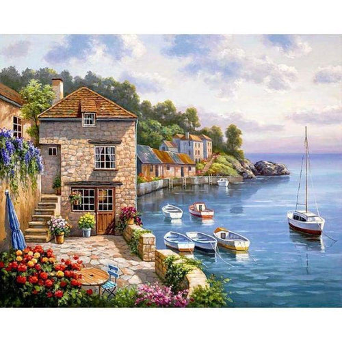 5D DIY Diamond Painting Kits Beautiful Seaside Cottage Scene - 2