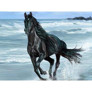5D DIY Diamond Painting Kits Running Black Horse By the Sea - Z3