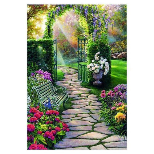 Full Drill - 5D DIY Diamond Painting Kits Beautiful Landscape Garden Door - NEEDLEWORK KITS