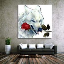 Load image into Gallery viewer, Full Drill - 5D DIY Diamond Painting Kits White Wolf Rose - NEEDLEWORK KITS