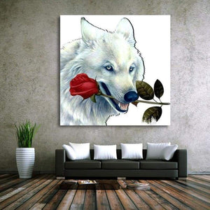Full Drill - 5D DIY Diamond Painting Kits White Wolf Rose - NEEDLEWORK KITS