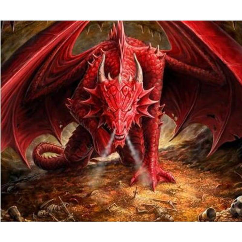 5D DIY Diamond Painting Kits Indignant Red Dragon - Z2
