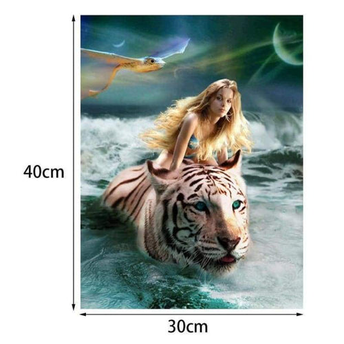 5D DIY Diamond Painting Kits Beauty And Animal Tiger Swimming in the Sea - 3