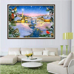 Full Drill - 5D DIY Diamond Painting Kits Winter Landscape Cottage - NEEDLEWORK KITS