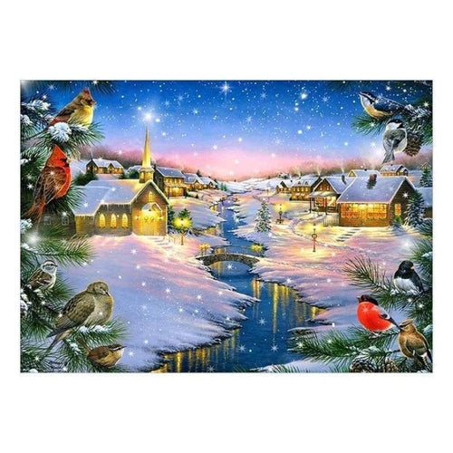 5D DIY Diamond Painting Kits Winter Landscape Cottage - 4