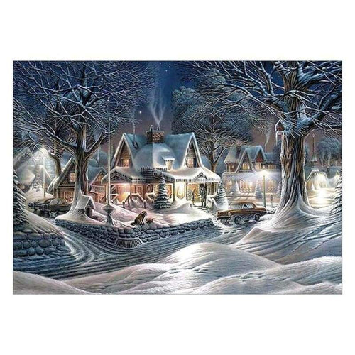 5D DIY Diamond Painting Kits Winter Landscape Village Cottage - 5