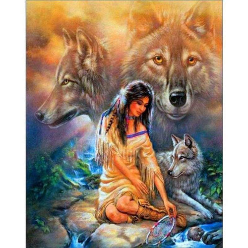 5D Diamond Painting Kits Watercolored Beauty And Animal Wolf - 3