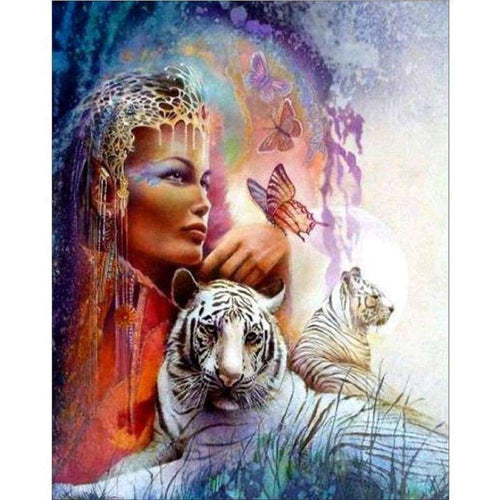 5D Diamond Painting Kits Watercolored Beauty And Animal Tiger - 333