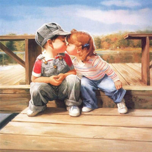 5D Diamond Painting Kits Cartoon Kissing Boy And Girl