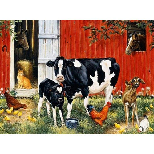 5D Diamond Painting Kits Watercolored Simple and Honest Cow Cock Cat Horse - 3