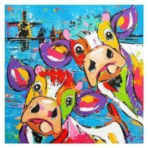 5D Diamond Painting Kits Watercolored Piquant Cow