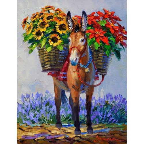 5D Diamond Painting Kits Colored Drawing Working Donkey - 4