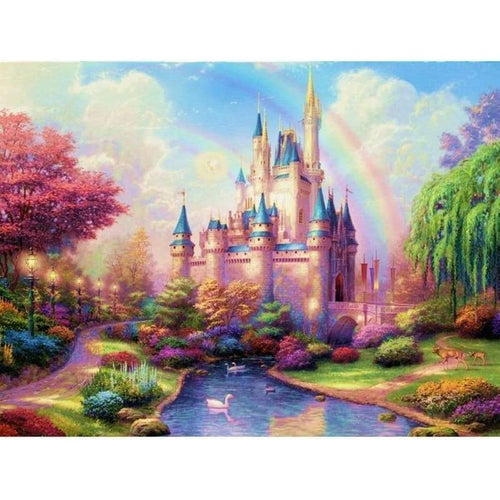 Full Drill - 5D Diamond Painting Kits Rainbow Fantasy Castle in the Forest - NEEDLEWORK KITS