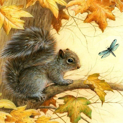 Full Drill - 5D Diamond Painting Kits Cute Squirrel on the Branches Dragonfly - NEEDLEWORK KITS
