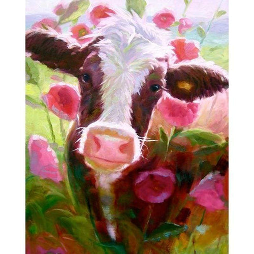 5D Diamond Painting Kits Colored Drawing Cow in the Field - 3