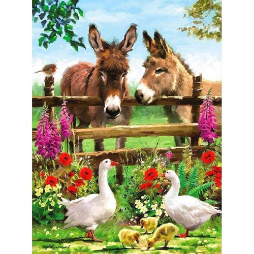 5D Diamond Painting Kits Colored Drawing Duck Donkey - 4