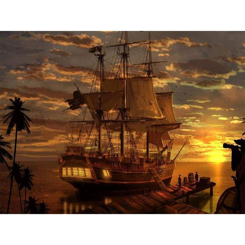 5D Diamond Painting Kits Pirate Ship in the Sea Sunset - 3