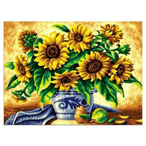 5D Diamond Painting Kits Visional Sunflower in Vase - 3