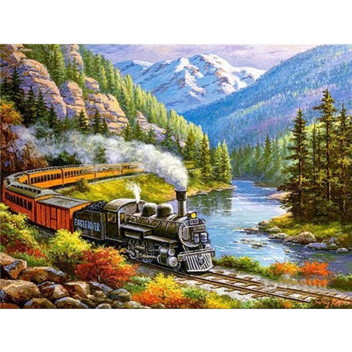 Full Drill - 5D Diamond Painting Kits Driving Train - NEEDLEWORK KITS