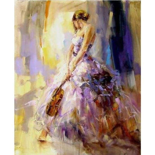 Full Drill - 5D Diamond Painting Kits Sad Beautiful Girl Violin - NEEDLEWORK KITS