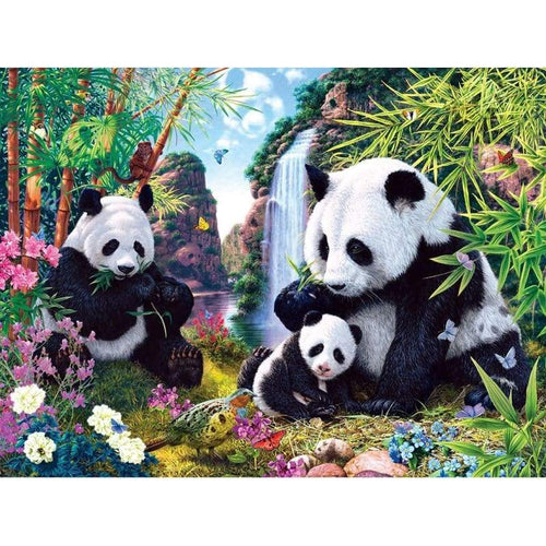 5D Diamond Painting Kits Panda Family in the Bamboo Forest - Z2