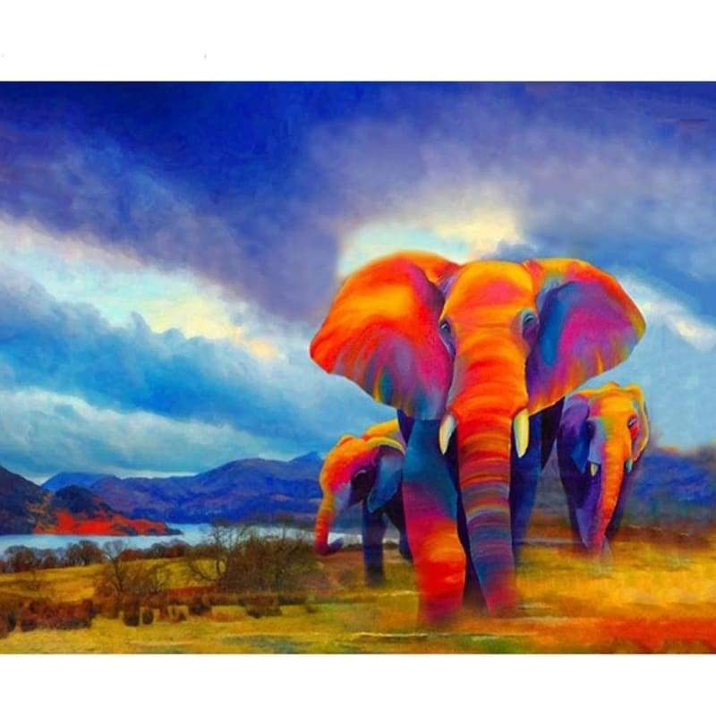 Animal African Colorful Elephants Diy Paint By Numbers Kits VM00190 - NEEDLEWORK KITS