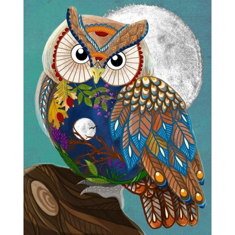 Color Animal Owl Diy Paint By Numbers Kits PBN91501 - NEEDLEWORK KITS