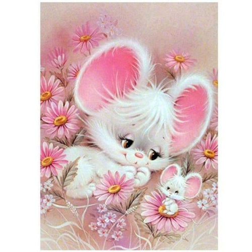 5D Diamond Painting Kits Pink Farm Animal Rabbit Mother and Child - 3