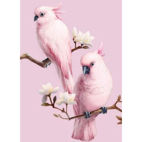 5D Diamond Painting Kits Beautiful Special Pink Bird Parrots on the Branches - 3